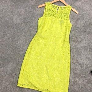 J. Crew Yellow Lace Sleeveless Shift Mini Dress 4